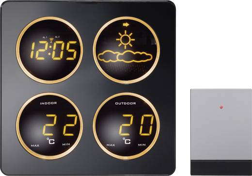 Vezeték nélküli időjárásjelző állomás, rádiójel vezérelt órával, Techno Line WS 6830