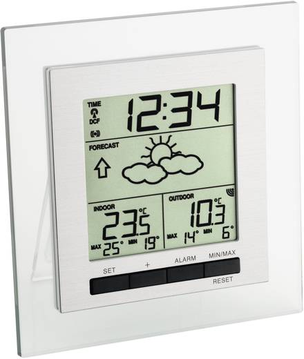 Vezeték nélküli időjárásjelző állomás, rádiójel vezérelt órával, TFA Square 35.1115.IT