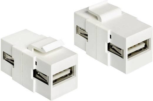 USB modul, USB 2.0 A típusú aljról USB 2.0 A típusú aljra, fehér, Keystone
