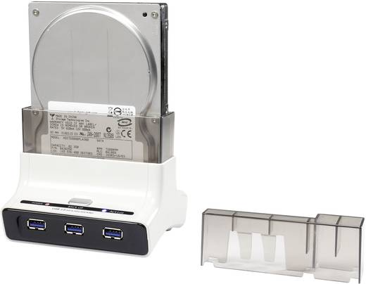 USB 3.0 merevlemez dokkoló állomás USB hubbal, USB 3.0 SATA III 1 port Renkforce