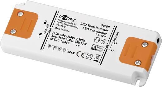LED tápegység, állandó áramú, 12 W 0 - 34 V/DC 350 mA, Goobay SET CC 350-12 LED 30600