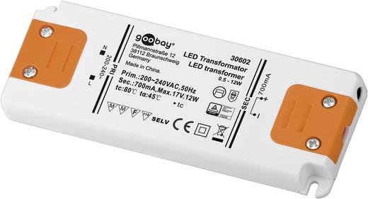 LED tápegység, állandó áramú, 12 W 0 - 17 V/DC 700 mA, Goobay SET CC 700-12 LED 30602