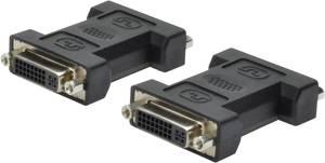 DVI közösítő adapter, 1x DVI aljzat 24+5 pól. - 1x DVI aljzat 24+5 pól., fekete, Digitus Digitus