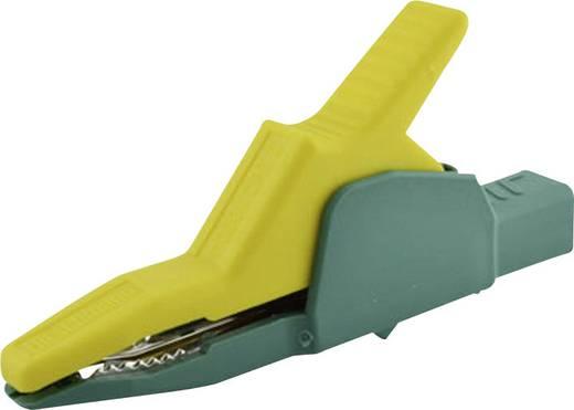 Szigetelet krokodilcsipesz, mérőcsipesz 4 mm-es csatlakozóaljjal, sárga/zöld SKS Hirschmann AK 2 B 2540