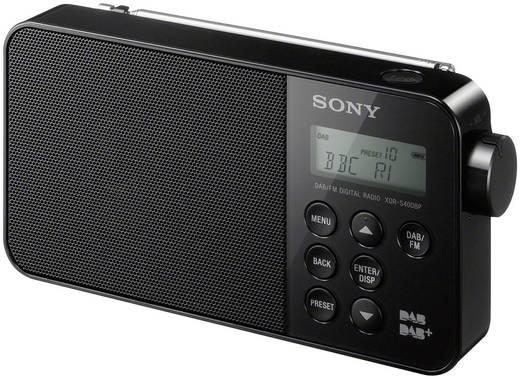 DAB rádió, fekete, DAB +, FM, Sony XDR-S40