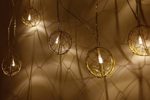 LED-es beltéri fényfüzér, gömbökkel, 10 LED Melegfehér 770 cm Polarlite