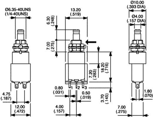 Nyomókapcsoló 230 V/AC 3 A, 2 x be/be, APEM 8646A