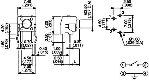 Nyomógomb nyákba 12 V/DC 50 mA, 1 x ki/(be), APEM PHAP3305