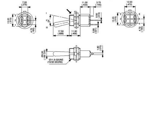 APEM karos kapcsoló 2 x (be)/ki/(be) 250 V/AC 3 A, 5647MA
