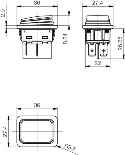 Marquardt billenőkapcsoló, 2 x ki/be, 250 V/AC 20 (4) A, 1935.3112
