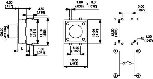 Nyomógomb nyákba 12 V/DC 50 mA, 1 x ki/(be), APEM PHAP3320