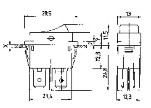 Marquardt billenőkapcsoló, 2 x be/ki, 250 V/AC 16 A, 1555.3104