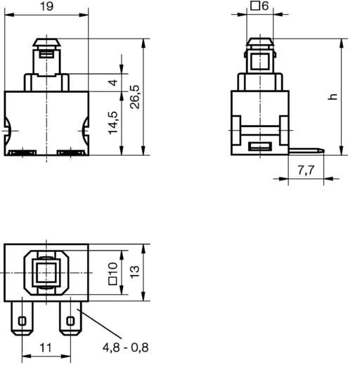 Nyomókapcsoló 250 V/AC 12 A, 1 x be/ki, IP40, Marquardt 1681.3101