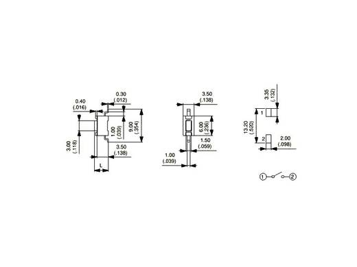 APEM Taktil rövidlöketű 12 V/DC 50 mA PHAP3362A / PHAP3362A