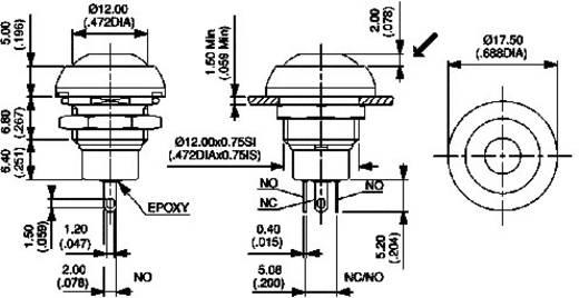 Nyomógomb 250 V/AC 200 mA, 1 x be/(be), IP67, APEM IPR5SAD6