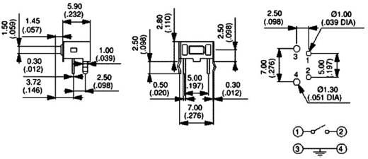 Nyomógomb 12 V/DC 50 mA, 1 x ki/(be), APEM PHAP3363