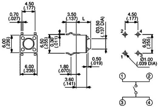 Nyomógomb 12 V/DC 50 mA, 1 x ki/(be), APEM PHAP3301B