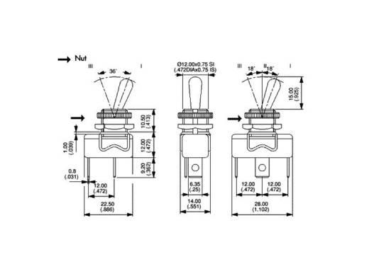 APEM karos kapcsoló 1 x be/ki/be 250 V/AC 3 A, 1019