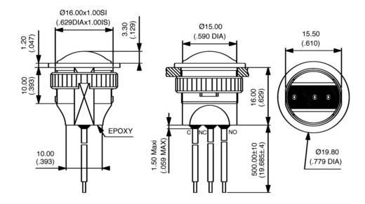 Nyomógomb 24 V/DC 2 A, 1 x ki/(be), IP67, APEM IAR3F1100