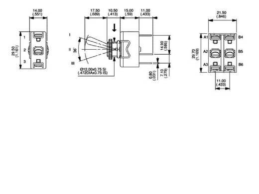 APEM karos kapcsoló 1 x be/ki/be 250 V/AC 6 A, 6-639H/2