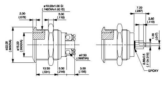 Vandálbiztos nyomógomb 24 V/DC 50 mA, 1 x ki/(be), APEM AV09C703D200