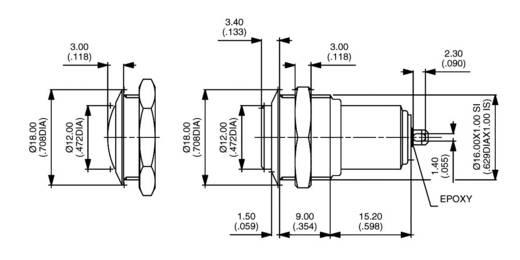 Vandálbiztos nyomókapcsoló 250 V/AC 1,5 A, 1 x be/ki, APEM AV1611A200