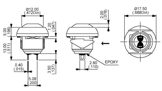 Nyomógomb 125 V/AC 125 mA, 1 x ki/(be), APEM IBR3SAD2