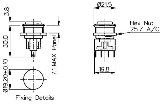 ESKA Bulgin vandálbiztos nyomógomb, 250V/AC, 5A, MP0031/2