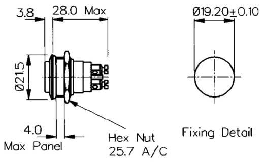 Vandálbiztos nyomógomb 1A/50VAC, 21,5 MM