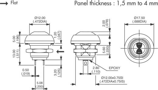 Nyomógomb 125 V/AC 125 mA, 1 x ki/(be), APEM ISR3SAD6