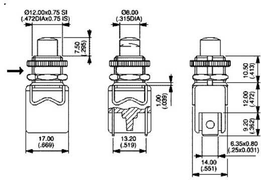 Nyomógomb 250 V/AC 4 A, 1 x ki/(be), APEM 1213A-2