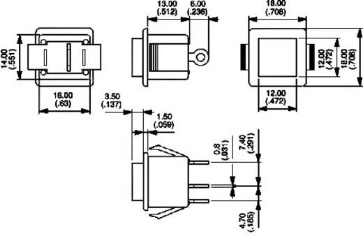 Nyomógomb 250 V/AC 3 A, 1 x be/(be), APEM 1415NA-2