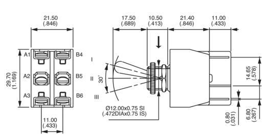 APEM karos kapcsoló 2 x be/ki/be 250 V/AC 6 A, 6-649H/2
