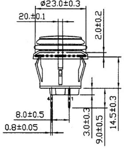 Nyomókapcsoló, 14 V/DC 20 A, 1 x be/ki, kék, SCI R13-527D2B