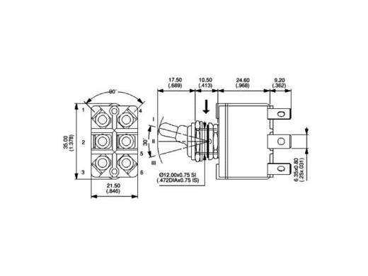 APEM karos kapcsoló 2 x be/ki/be 250 V/AC 6 A, 3649NF/2