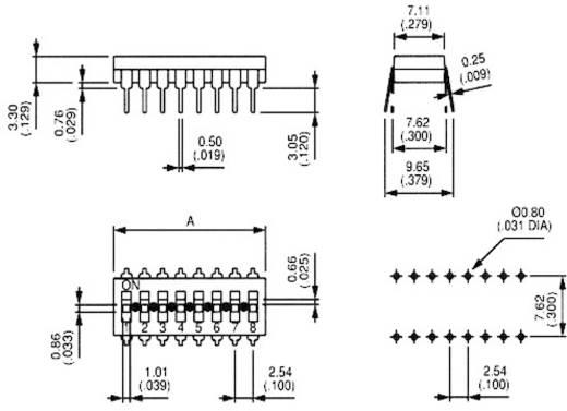 APEM DIP kapcsoló, 8 pól., 2,54 mm raszter, IKL0800000