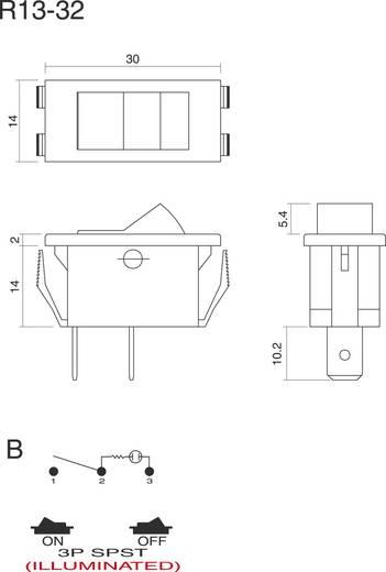 SCI Billenőkapcsoló, 250 V/AC, 6 A R13-32B-01 RT