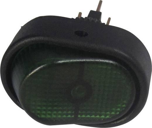 SCI autós billenőkapcsoló, 12V/DC, 30A, 1xbe/ki, zöld, glimmlámpa, R13-133B-SQ GREEN