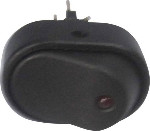 SCI autós billenőkapcsoló, 12V/DC, 30A, 1xbe/ki, fekete, piros LED, R13-133L-SQ RED