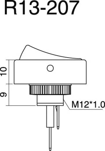 SCI autós billenőkapcsoló, 12V/DC, 20A, 1xbe/ki, zöld, R13-207B2-SQ GREEN