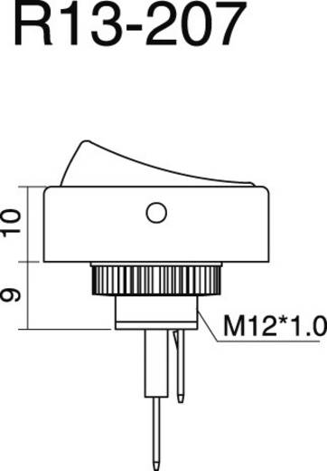 SCI autós billenőkapcsoló, 12V/DC, 25A, 1xbe/ki, piros LED, R13-207L-SQ RED 12V/DC
