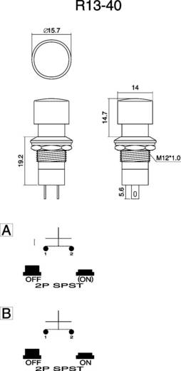 SCI Nyomógomb, 3 A, R13-40 R13-40B-05 ZÖLD 1 x ki/be 250 V/AC 1,5 A