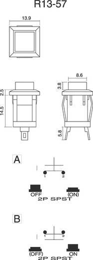 SCI Nyomógomb 1 A R13-57A-05 Fekete AKTUÁTOR 1 x (be)/ki 250 V/AC 0,5 A