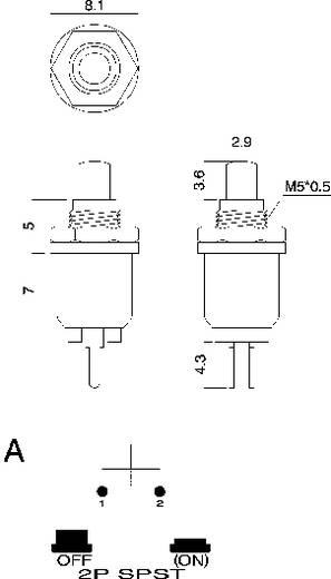 SCI Nyomógombok, 0,5 A, R13-81 R13-81A-05 RED ACTUATOR 1 pólusú (BE)/KI 1 x (BE)/KI 125 V/AC 0,5 A
