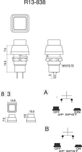 SCI Nyomógomb 3 A, R13-83 R13-83B-05 PIROS AKTUÁTOR 1 x ki/be 250 V/AC 1 A