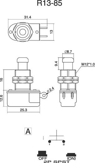 Nyomógomb 250 V/AC 3 A, 1 x ki/(be), SCI R13-85A-05