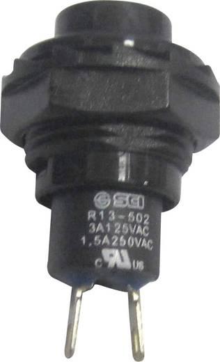Nyomógomb 250 V/AC 1,5 A, 1 x ki/(be), fekete, SCI R13-502A-05BK