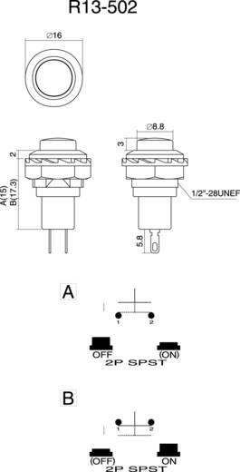 Nyomógomb 250 V/AC 1,5 A, 1 x be/(ki), piros, SCI R13-502B-05RT