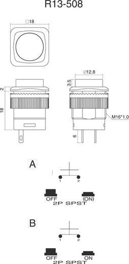 Nyomókapcsoló 250 V/AC 1,5 A, 1 x ki/be, zöld, SCI R13-508B-05GN