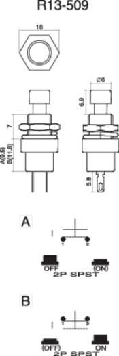 Nyomógomb 250 V/AC 1,5 A, 1 x ki/(be), fekete, SCI R13-509A-05BK
